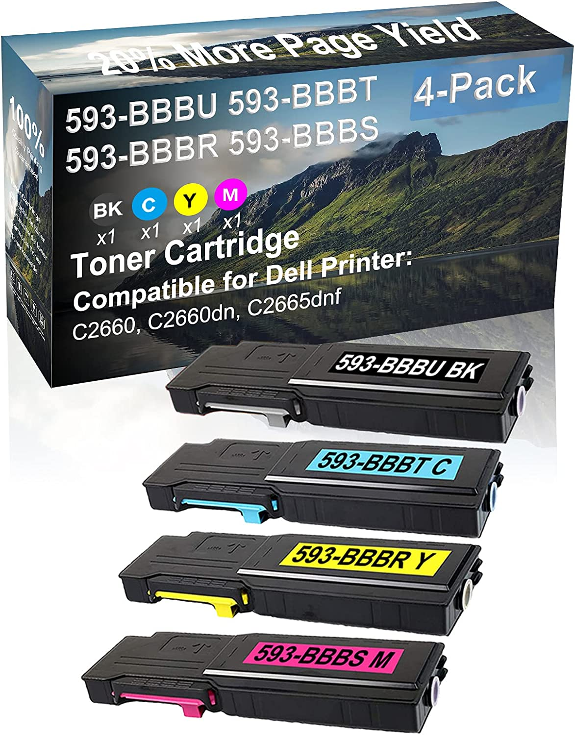 4-Pack (BK+C+Y+M) Compatible High Yield 593-BBBU+ 593-BBBT+ 593-BBBR+ 593-BBBS Laser Printer Toner Cartridge Used for Dell C2660, C2660dn, C2665dnf Printer
