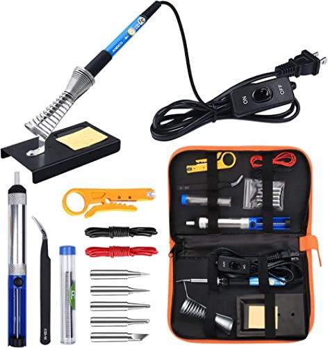 Anbes Soldering Iron Kit Electronics, 60W Adjustable Temperature Welding Tool, 5pcs Soldering Tips, Desoldering Pump,...