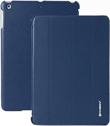 Invision® iPad Air Custodia Smart Cover – Caratteristiche Superiori di Design – Funzione Automatica Magnetica Sveglia/Riposo – Pelle Sintetica di Qualità (iPad Air / Blu Scuro)