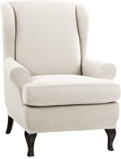 CHUN YI 2-Piece Rhombus Jacquard Wing Chair Cover,Universal Wing Back Wingback Armchair Covers Chair with Arms Slipcovers Furniture Protector (Cream White)