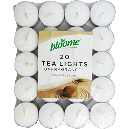 Bloome 20pk Unfragranced Tealights Candles Amazon Co Uk Kitchen Home
