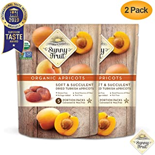 ORGANIC Turkish Dried Apricots - Sunny Fruit - (2 Bags) - (5) 1.76oz Portion Packs per Bag | Purely Apricots - NO Added Sugars, Sulfurs or Preservatives | NON-GMO, VEGAN, HALAL & KOSHER