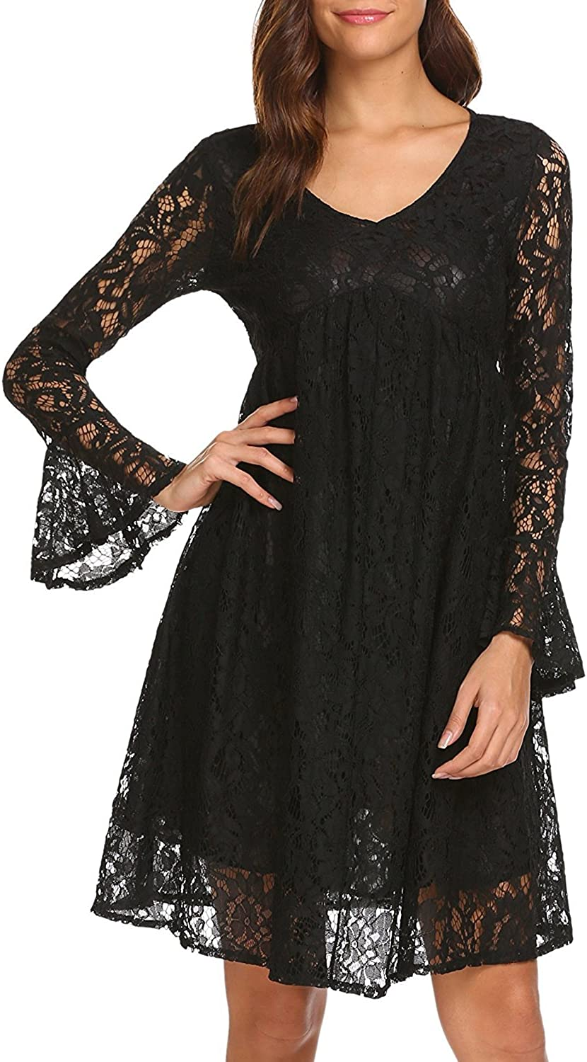 FashionRun Women's VNeck Flare Sleeve Floral Lace Empire Waist Party Pleated Dress