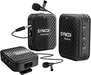 SYNCO G1(A2) 2.4GHz-Wireless-Lavalier-Microphone-System with 1 Receiver,2 Transmitters &2 External Lav-Mic Compatible with...