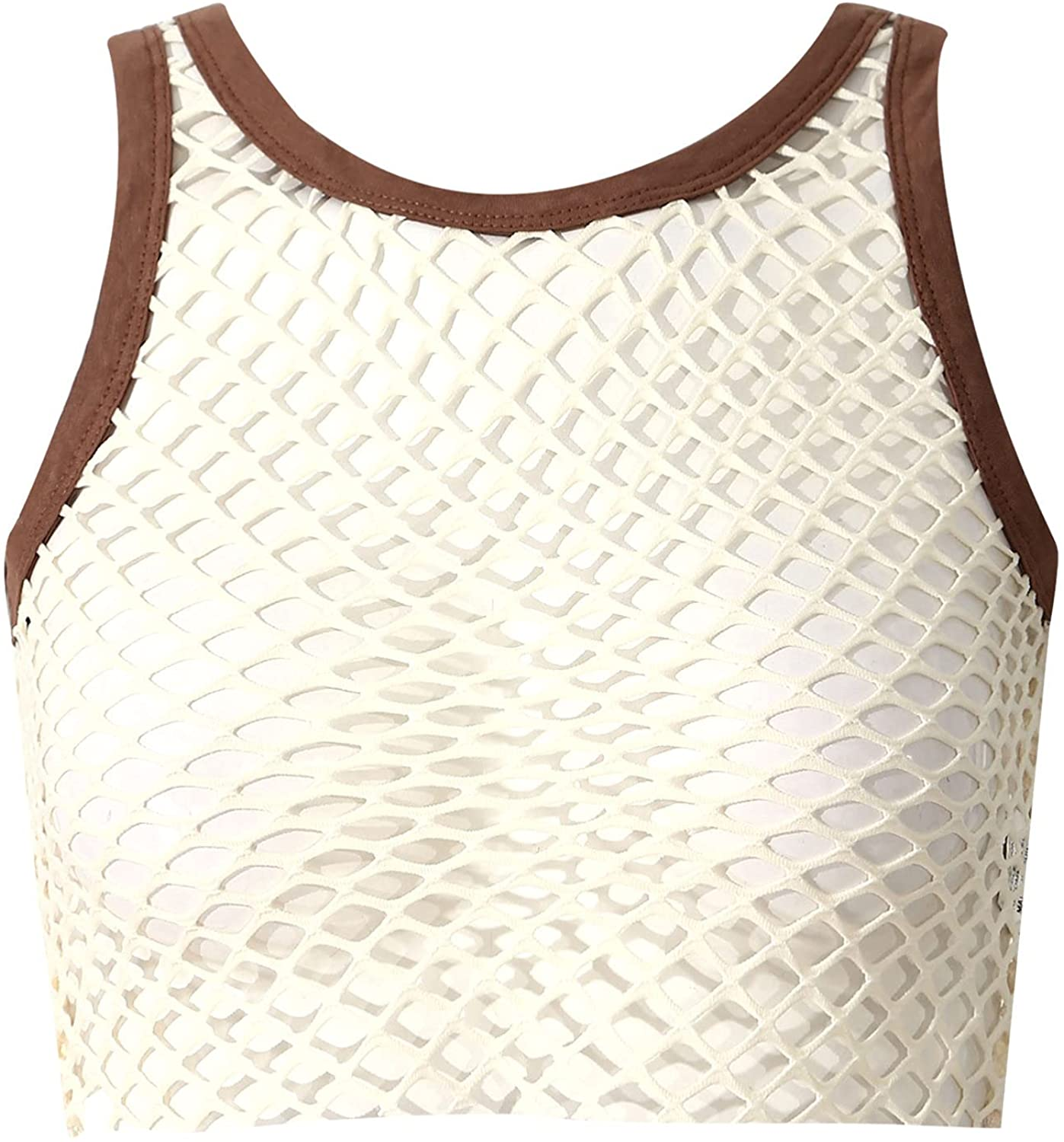JEEYJOO Women Fashion Hollow Out Mesh Crop Top Sleeveless Cropped T-Shirt Vest