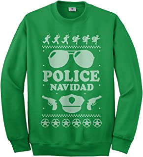Threadrock Men's Police Navidad (Ugly Sweater) Sweatshirt