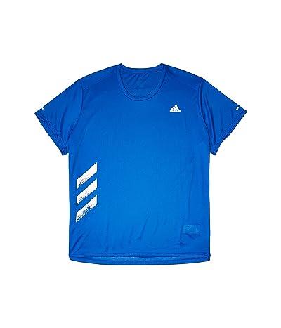 adidas Run It Tee Big Stripes T-Shirt (Glory Blue) Men