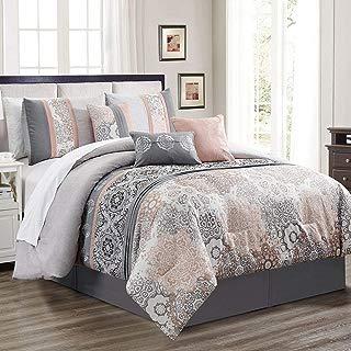 KingLinen 7 Piece Poplar Blush/Gray Comforter Set Queen