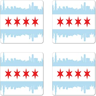 Ambesonne Chicago Skyline Coaster Set of 4, City of Chicago Flag with High Rise Buildings Scenery National, Square Hardboard Gloss Coasters for Drinks, Standard Size, Red White