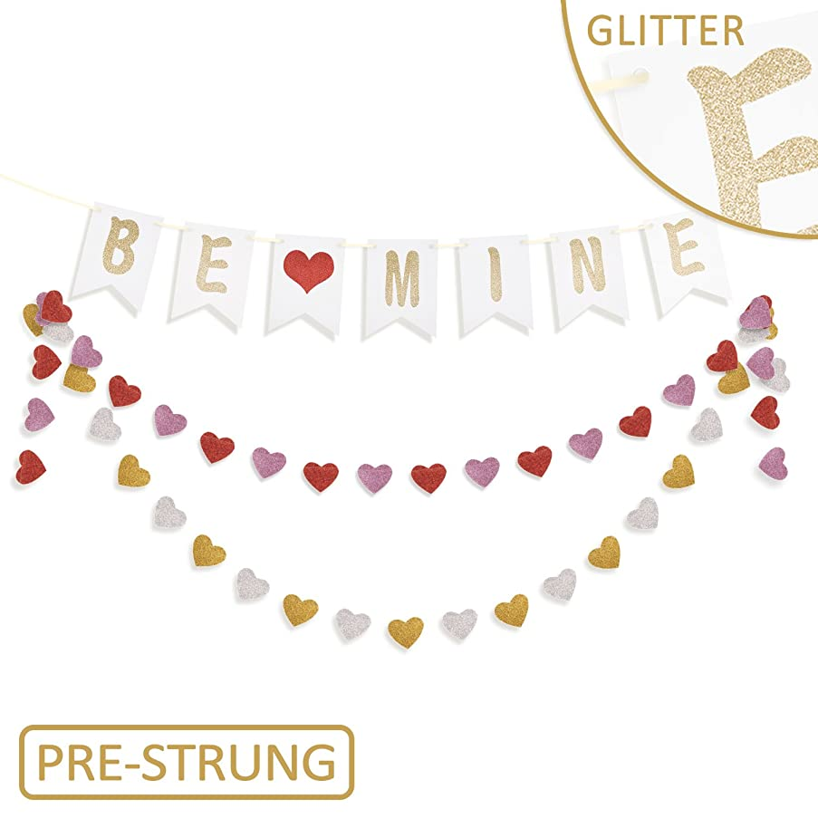 Valentine's Day Decorations and Ornaments-Glitter Be Mine Banner and Heart Garland Hanging Bunting,Valentines Party Supplies for Home Décor,House,Wall,Mantel,Bedroom,Romantic Photo Props Backdrop Sign