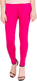 American-Elm Women's Cotton Viscose Net Legging- Rani Pink