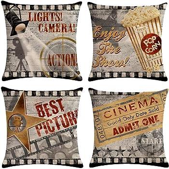 Gspirit 4 Pack Retro Cine Algodón Lino Throw Pillow Case Funda de ...