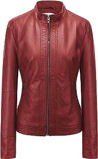24cd0d01ea66 Fasbric Women's Faux Leather Long Sleeve Zipper Short Moto Biker Zipper  Biker Jacket Coat