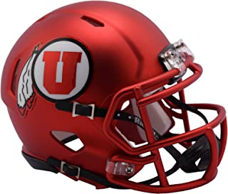 Utah Utes Riddell Speed Mini Football Helmet with Black Chip Strap - Red Pearl Shell and Mask - New in Riddell Box