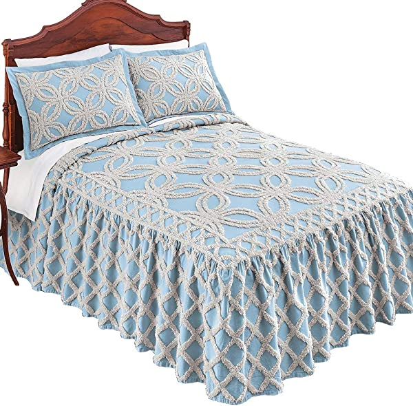 Collections Etc Allison Chenille Ivory Tufted Trellis Pattern Bedspread Seasonal Bedding Blue Queen