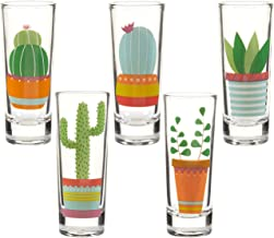 Party Shot Glasses - Cactus Shot Glasses with Colorful Print for Cinco de Mayo Tequila Fiesta- Set of 5, 2 oz Each