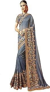 Georgette Heavy Wedding Festival Saree Ceremony Zari Border Sari Indian Silk Blouse Formal Women Black Friday 7316