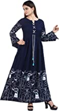 Chandrakala Women's Rayon Indian Ethnic Printed Tunic Top Flared Kurti Kurta Frock Style Long Dress (K140)