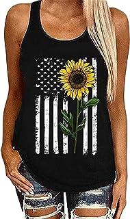 JIER Liquidación Liquidación Camisetas sin Mangas con Estampado de Girasol sin Mangas para Mujer Camisetas con Estampado de Bandera Americana