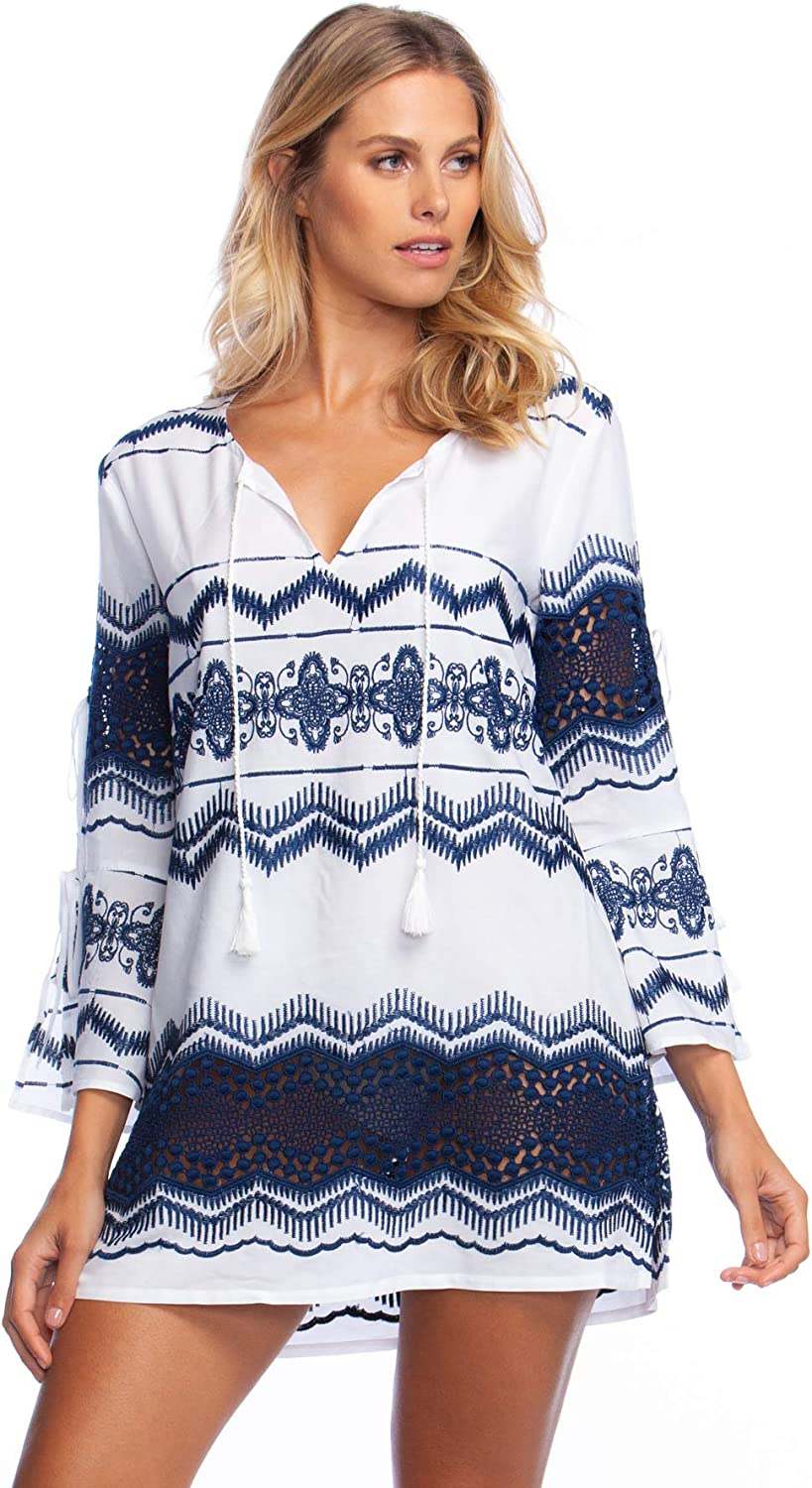 La whitea Womens Cool Shoulder VNeck Embroidered Tunic Swim Coverup Swimwear CoverUp