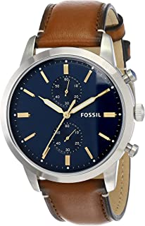 Men's Townsman Stainless Steel and Leather Casual Quartz Chronograph Watch
