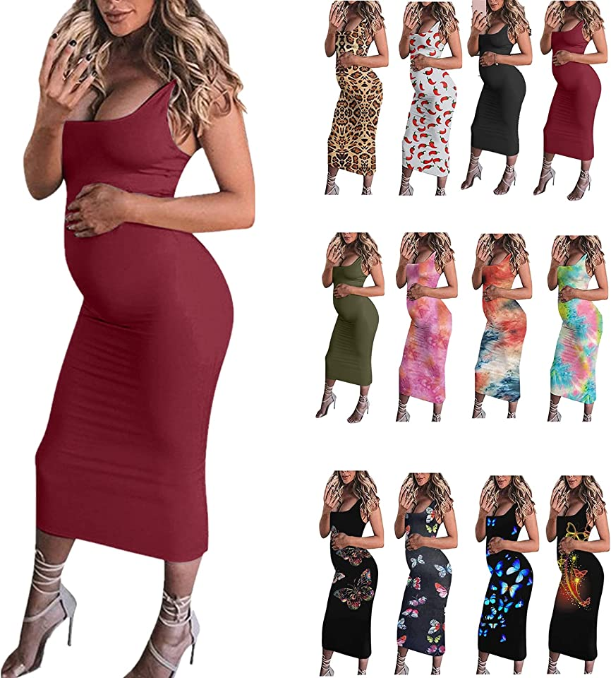 ESKMOOM Womens Summer Sleeveless Maternity Dress Pregnancy Tank Crewneck Mama Clothes Casual Bodycon Swing Maxi Dresses