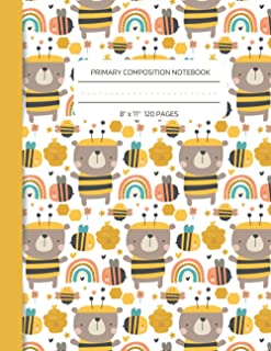Bears and Bees Primary Composition Notebook: 120 Page Handwriting Practice Notebook For Kids