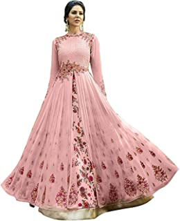 RR Crafts&Crerations Indian Women's Heavy Embroidered Work Bridal Wedding Gown and Anarkali Dress,Party wear Ethnic Saree,Traditional Saree (Multi-Coloured 3) Pink