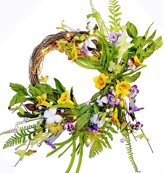 Spring Summer Wreath Pre Lit Floral Morning Glory Garland Flower Decor Twig Wreath 20 Inch Battery Operated Yellow And Purple
