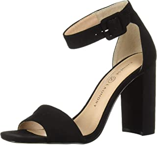 Chinese Laundry Women's JETTIE Heeled Sandal, Black Suede, 6.5 M US