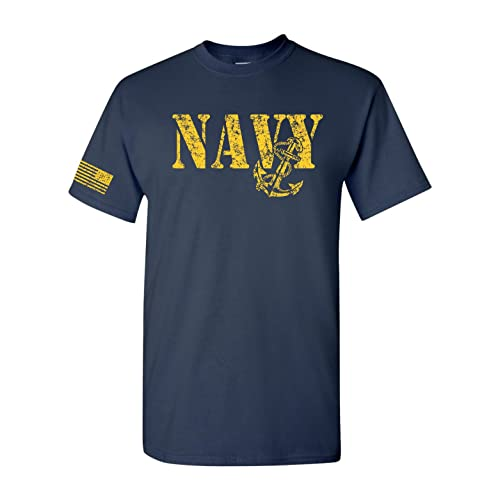 6e669b42a All Things Apparel United States Navy Flag on Sleeve Men's T-Shirt