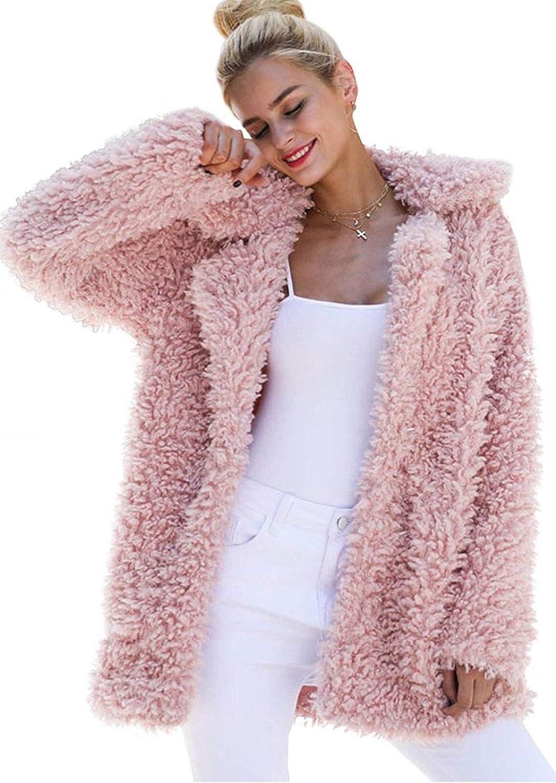 kooosin Women's Super Special SALE held Warm A surprise price is realized Artificial Soft Coat Jacket Wool Wint Lapel