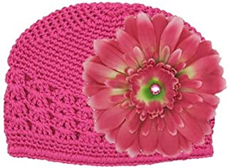 Crochet Hats with Candy Pink Daisy