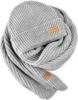 BRUCERIVER Men Women Knit Scarf & Hat Beanie 2-Pieces Set Heather Color Winter