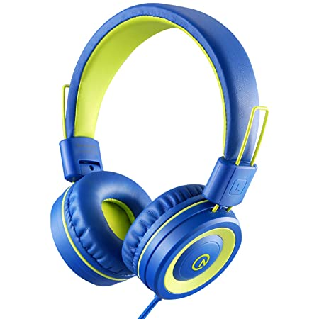 Kids Headphones with Microphone noot products K12 Stereo 5ft Long Cord with 85dB/94dB Volume Limit Wired On-Ear Headset for iPad/Amazon Kindle,Fire/Toddler/Boys/Girls/School/Travel/Plane(Blue/Lime)