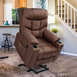 Esright Power Lift Chair Electric Recliner for Elderly Heated Vibration Fabric Sofa Living Room Chair with 2 Side Pockets and Cup Holders, USB Charge Port &Remote Controll, Brown