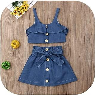 Brittany-Breanna Baby Girl Outfits Conjunto de Ropa para niños y niñas con Correa Azul Vaquera, Pantalones Cortos, Falda y Falda