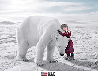 Polar Bear and Little Girl Christmas Cards Boxed Set of 12 Holiday Cards and 12 Envelopes. Made in USA.