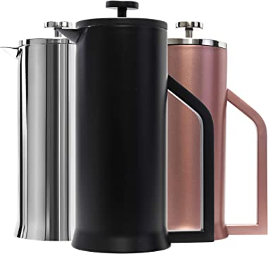 Lafeeca French Press Coffee Maker - Stainless Steel Double Wall Vacuum Insulated - Large Thermal Brewer 34 oz 1000 ml - Black