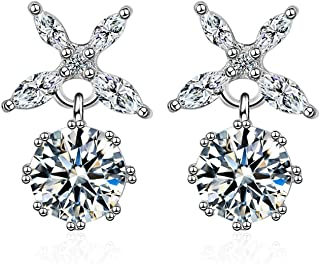 Sukkhi Crystals from Swarovski Drop Down Platinum PlatedStar Earring for Women and Girls (E80952)