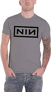 T Shirt Classic Black Nin Band Logo Official Mens Grey