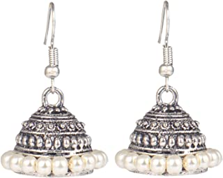 Sansar India Oxidized Light Weight Beaded Indian Earrings Jewelry for Girls and Women