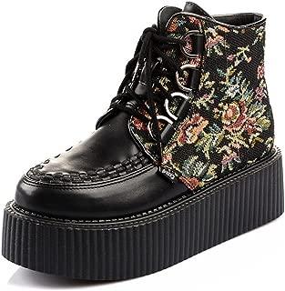 RoseG Women's Handmade High Top Goth Punk Flats Platform Creeper Boots