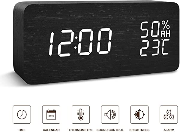 NEWKJ Digital Wooden Alarm Clock Wood LED Digital Desk Clock Upgraded With Time Temperature Adjustable Brightness 3 Set Of Alarm And Voice Control Humidity Displaying Black White