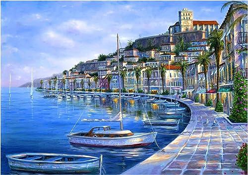 lowest Larcele 300 Pieces Jigsaw Puzzle Seaside outlet online sale City Landscape Art Paintings Wooden Puzzle for online Adults Kids Ages 14+ YZPT-02(6501) online sale