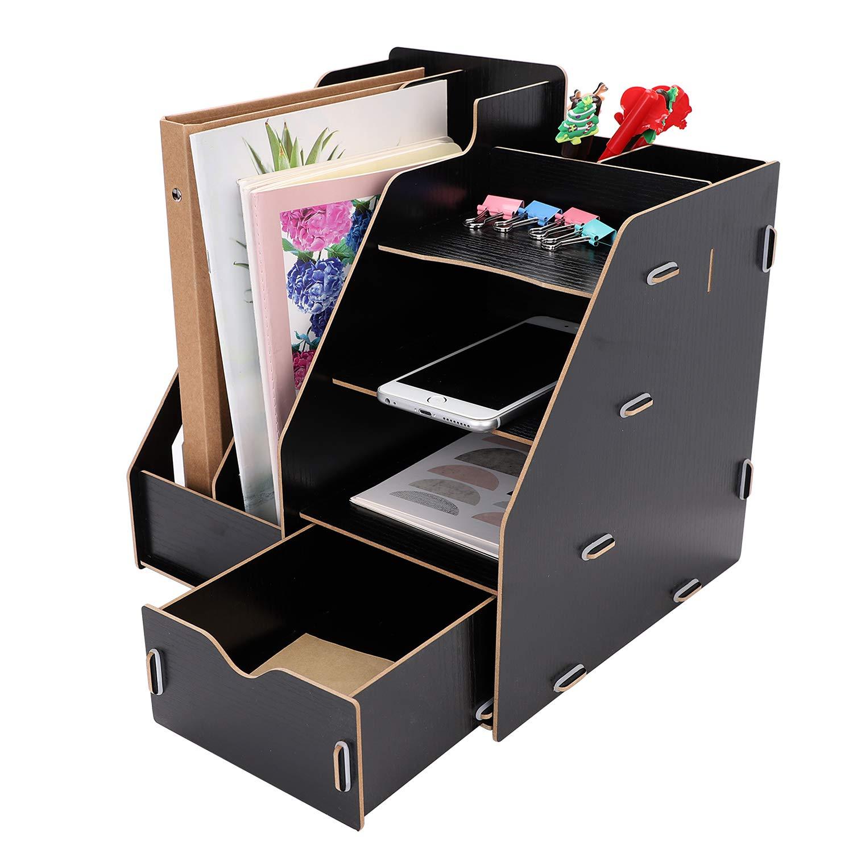 Caja de almacenamiento de madera organizador de escritorio 2 portabolígrafos 2 revistas 4 compartimentos con 1 cajón módulo de almacenamiento carpeta carpeta portadocumentos: Amazon.es: Oficina y papelería