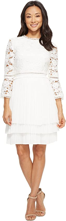 Stefoni Pleated Skirt Lace Bodice Dress