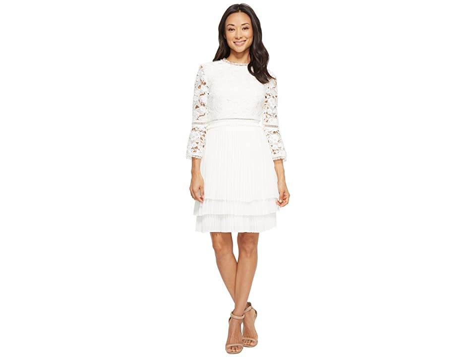Ted Baker Stefoni Pleated Skirt Lace Bodice Dress (Natural) Women