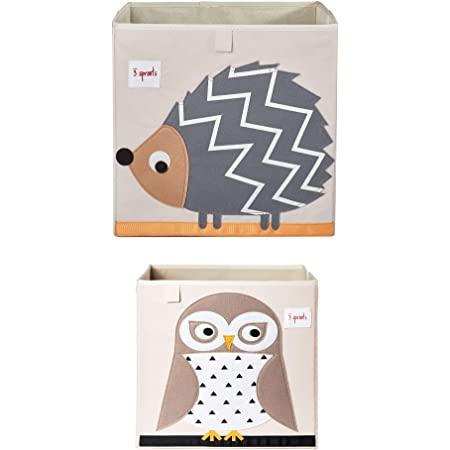 3 Sprouts Large 13 Inch Square Children's Foldable Fabric Storage Cube Organizer Box Soft Toy Bins, Pet Hedgehog and Friendly Owl (2 Pack)