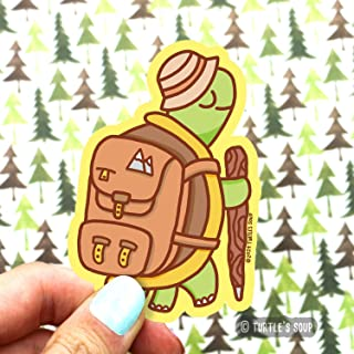 Hiking Turtle Sticker, Tortoise Decal, Tour Guide, Hiking and Camping, Mountains, Vinyl Sticker, Laptop Sticker